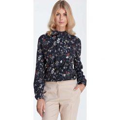 Bluzki damskie: Stylowa Bluzka Koszulowa z Wiązaną Kokardą przy Dekolcie - Wzór Ecru