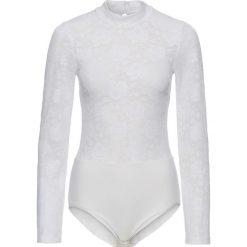Body wyszczuplające bonprix biały. Białe bluzki body bonprix, w koronkowe wzory, z koronki. Za 49,99 zł.