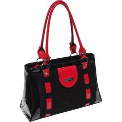 Torebki klasyczne damskie: Torebka w kolorze czarno-czerwonym – (S)38 x (W)15 x (G)22 cm
