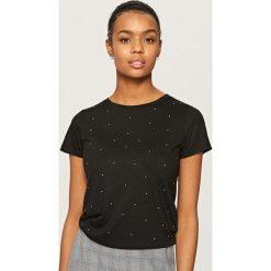 T-shirty damskie: T-shirt z cekinami – Czarny