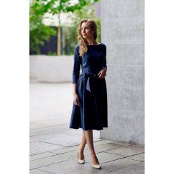 Sukienki: Sukienka Melia granatowa z lnem 32