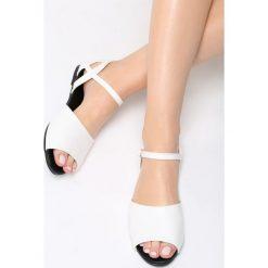 Białe Sandały Make A Move. Białe sandały damskie marki Born2be, z materiału, na obcasie. Za 39,99 zł.