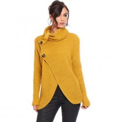 """Kardigan """"Stone"""" w kolorze musztardowym. Żółte kardigany damskie marki Cosy Winter, s, ze splotem. W wyprzedaży za 181,95 zł."""