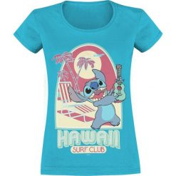 Lilo & Stitch Hawaii Koszulka damska niebieski. Niebieskie bluzki asymetryczne Lilo & Stitch, xxl, z nadrukiem, z okrągłym kołnierzem. Za 74,90 zł.