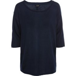 Swetry klasyczne damskie: Sweter z plisą guzikową bonprix ciemnoniebieski
