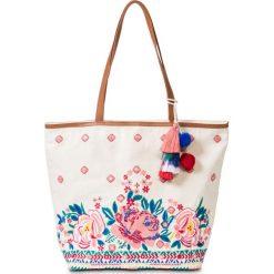 Torba shopper plażowa z haftem bonprix cielisto-różowo-turkusowy. Zielone torby plażowe marki bonprix, w kropki, z kopertowym dekoltem, kopertowe. Za 109,99 zł.