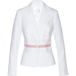 Marynarki i żakiety damskie: Żakiet z koronką bonprix biel wełny – pastelowy jasnoróżowy