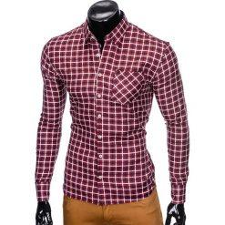 KOSZULA MĘSKA W KRATĘ Z DŁUGIM RĘKAWEM K429 - BORDOWA/GRANATOWA. Czarne koszule męskie na spinki marki Ombre Clothing, m, z bawełny, z kapturem. Za 59,00 zł.