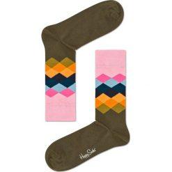 Happy Socks - Skarpetki Faded Diamond. Brązowe skarpetki damskie marki Happy Socks, z bawełny. W wyprzedaży za 29,90 zł.