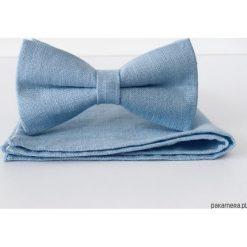 Poszetki męskie: Blueline – błękitna lniana mucha + poszetka