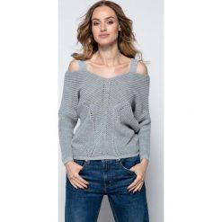 Swetry damskie: Szary Lekki Nietoperzowy Sweter ze Zmysłowym Dekoltem