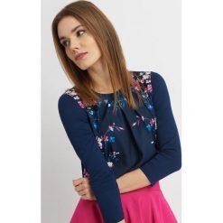 Odzież damska: Koszulka bimaterial z kwiatowym printem
