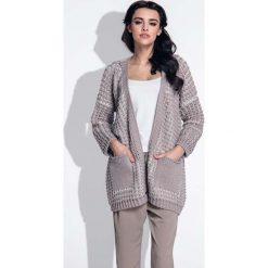 Swetry damskie: Mocca Kardigan Ciepły Dwubarwny z Kieszeniami