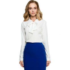 Ecru Elegancka Bluzka z Wiązaniem. Szare bluzki longsleeves Molly.pl, l, z tkaniny, eleganckie, dekolt w kształcie v. Za 95,90 zł.