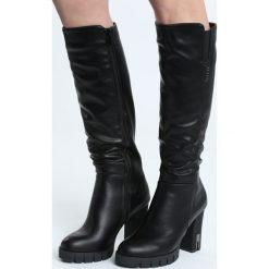 Czarne Kozaki Wishes And Stars. Czarne buty zimowe damskie marki Born2be, ze skóry, z okrągłym noskiem, na wysokim obcasie, na słupku. Za 189,99 zł.