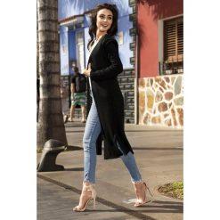Długi sweter maxi z wiązaniem ls198. Niebieskie kardigany damskie marki SaF, na co dzień, xl, z żakardem, z asymetrycznym kołnierzem, dopasowane. W wyprzedaży za 109,00 zł.