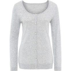 Sweter rozpinany z perełkami bonprix jasnoszary melanż. Szare kardigany damskie marki Mohito, l. Za 79,99 zł.