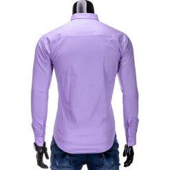 KOSZULA MĘSKA ELEGANCKA Z DŁUGIM RĘKAWEM K219 - WRZOSOWA. Brązowe koszule męskie na spinki marki Ombre Clothing, m, z aplikacjami, z kontrastowym kołnierzykiem, z długim rękawem. Za 49,00 zł.