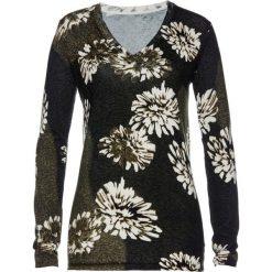 Sweter w kwiaty bonprix czarno-oliwkowy. Zielone swetry klasyczne damskie bonprix. Za 109,99 zł.