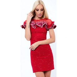 Sukienka z falbaną czerwona ALZ3122. Czerwone sukienki Fasardi, l. Za 119,00 zł.