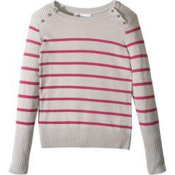 Sweter w paski z guzikami bonprix jasnoszary melanż - jeżynowy w paski. Szare swetry dziewczęce marki bonprix, z okrągłym kołnierzem. Za 32,99 zł.