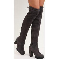 Ciemnoszare Kozaki More Strength. Szare buty zimowe damskie marki Born2be, z okrągłym noskiem, na wysokim obcasie, na obcasie. Za 159,99 zł.