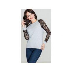 Bluzka K329 Szary - Czarny. Szare bluzki damskie marki Lenitif, s, w koronkowe wzory, z koronki. Za 129,00 zł.