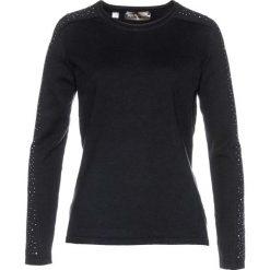 Sweter z połyskującymi kamieniami bonprix czarny. Czarne swetry klasyczne damskie marki bonprix. Za 69,99 zł.