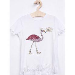 Name it - Top dziecięcy 122-164 cm. Szare bluzki dziewczęce marki Name it, z aplikacjami, z bawełny, z okrągłym kołnierzem. Za 79,90 zł.