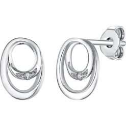 Biżuteria i zegarki: Srebrne kolczyki-wkrętki z diamentami