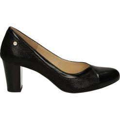 Czółenka - F337 T-B NERO. Czarne buty ślubne damskie Venezia, ze skóry. Za 199,00 zł.