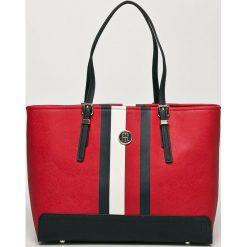 Tommy Hilfiger - Torebka. Szare torebki klasyczne damskie marki TOMMY HILFIGER, w paski, z materiału, duże. Za 629,90 zł.