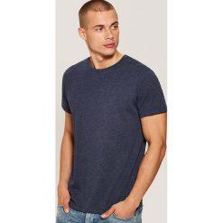 T-shirt basic - Granatowy. Czarne t-shirty męskie marki House, l, z nadrukiem. Za 25,99 zł.