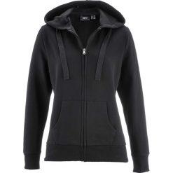 Bluza rozpinana bonprix czarny. Czarne bluzy sportowe damskie bonprix, w paski, z kapturem. Za 59,99 zł.