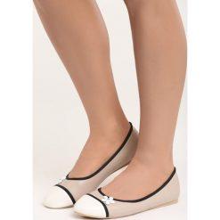 Beżowe Balerinki White Daisy. Białe baleriny damskie marki Born2be, ze skóry, na płaskiej podeszwie. Za 49,99 zł.