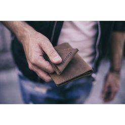 Portfele męskie: Skórzany portfel SLIM wallet BRODRENE jasny brąz