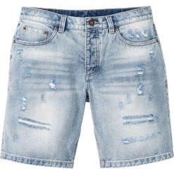 """Bermudy dżinsowe bonprix niebieski """"bleached used"""". Niebieskie bermudy męskie bonprix, z jeansu. Za 89,99 zł."""