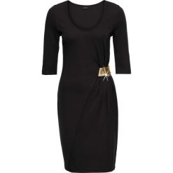 Sukienka z dżerseju z aplikacją bonprix czarno-złoty. Czarne sukienki na komunię bonprix, z aplikacjami, z dżerseju, z kopertowym dekoltem, kopertowe. Za 99,99 zł.