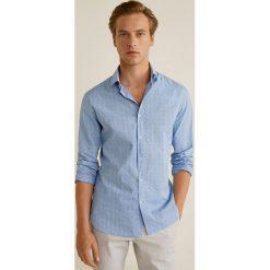 Mango Man - Koszula Asun. Szare koszule męskie na spinki Mango Man, l, z bawełny, z włoskim kołnierzykiem, z długim rękawem. W wyprzedaży za 89,90 zł.