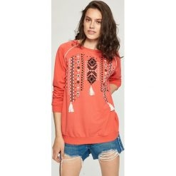 Bluzy damskie: Bluza z motywem etno - Pomarańczo