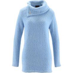 Sweter bonprix lodowy niebieski. Niebieskie golfy damskie bonprix, z materiału. Za 74,99 zł.