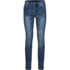 """Dżinsy SkINNY z paskiem w deseń etno bonprix niebieski """"stone"""". Niebieskie jeansy damskie bonprix. Za 159,99 zł."""
