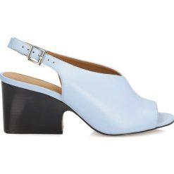 Sandały damskie: Niebieskie sandały peep toe