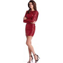 Dopasowana Czerwona Sukienka Wieczorowa z Cekinami. Fioletowe sukienki koktajlowe marki Molly.pl, na studniówkę, l, z długim rękawem, dopasowane. Za 239,90 zł.