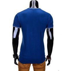 T-SHIRT MĘSKI BEZ NADRUKU S667 - NIEBIESKI. Szare t-shirty męskie z nadrukiem marki Ombre Clothing, m, z bawełny, ze stójką. Za 35,00 zł.