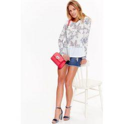 Swetry klasyczne damskie: SWETER DAMSKI Z ŁĄCZONYCH MATERIAŁÓW Z FALBANKĄ W KWIATY