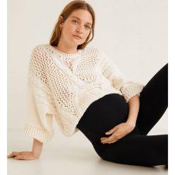 Mango - Legginsy ciążowe Mum. Niebieskie legginsy ciążowe marki bonprix, z materiału, z dekoltem w serek. Za 69,90 zł.