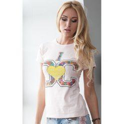 Bladoróżowy T-shirt z aplikacją A191. Białe t-shirty damskie marki Fasardi, l. Za 14,99 zł.