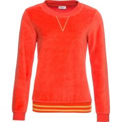 Bluza z dzianiny welurowej nicki bonprix czerwona pomarańcza. Brązowe bluzy damskie bonprix, z dzianiny. Za 89,99 zł.