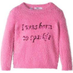 Swetry klasyczne damskie: Sweter z puszystej przędzy, z cekinami bonprix różowy flaming - jeżynowy